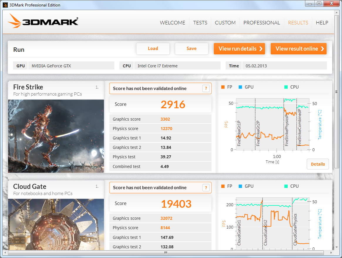 3DMark пример интерфейса